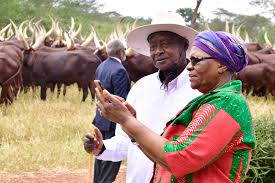 President Museveni conducted the Deputy Prime Minister, Ms. Ndaitwah and her delegation, on a brief tour of Kisozi farm. (PHOTO/PPU)