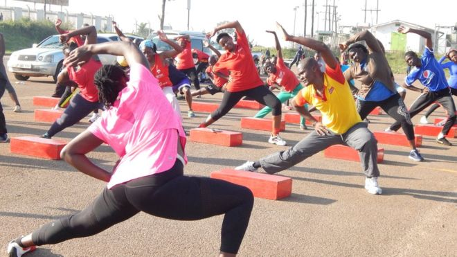 Makerere University students doing stretch ups in the morning (PHOTO/Courtesy)