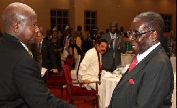 President Museveni and former Zimbabwe president Mugabe. (PHOTO/File)
