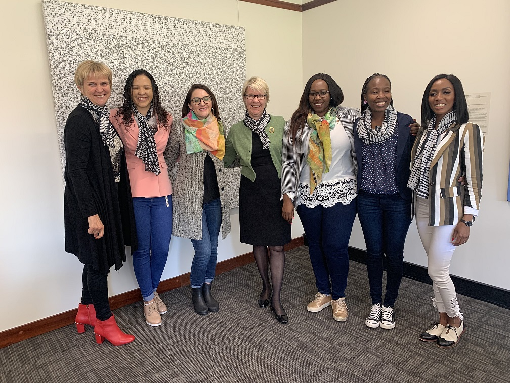 Pr Lyn Karstadt, Deputy Vice Chancellor International at Murdoch University; Jillian Hudson, entrepreneur and member of KBN; Joarina Matthys, CEO of KBN; Pr Eeva Leinonen, Vice Chancellor at Murdoch University; Caroline Yonke, Dr Lebohang Fadiran and Dr Keitumetse Mothibeli entrepreneurs and members of KBN