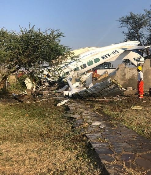 An Auric Air plane has crashed this morning in Seronera Airstrip, Serengeti a few minutes after taking off, killing the pilot and one passenger. (PHOTO/Courtesy)