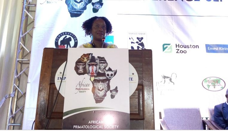Dr .Gladys Kalema Zikusooka ,the Vice President African Primatological Society Conference giving opening remarks at Imperial Botanical Hotel, Entebbe ( Photo/ Abraham Mutalyebwa)