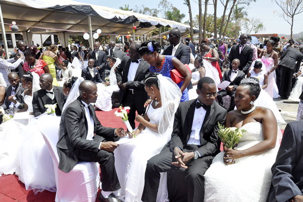 Couples during a mass wedding at Rubaga Miracle Centre Cathedral