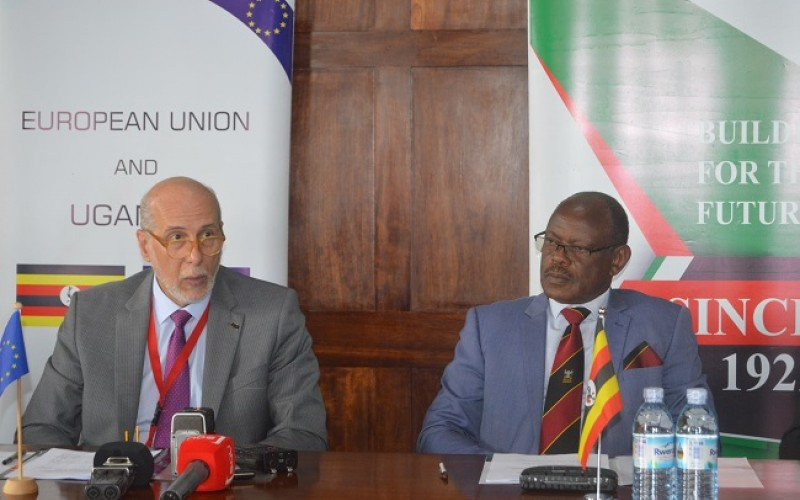 The Makerere University Vice Chancellor Prof. Barnabas Nawangwe and the Ambassador of European Union to Uganda, H.E. Attilio Pacific at the press conference held on 16th September 2019; in the Makerere University Council Room. (PHOTO/PML DAILY)