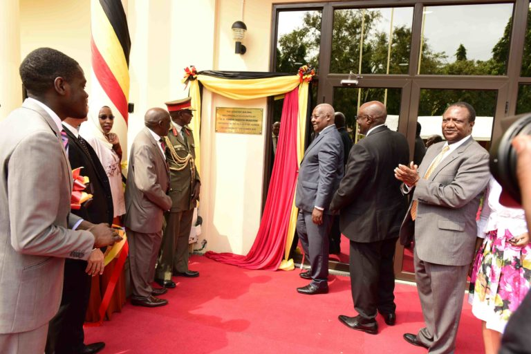 Uganda's Minister for Foreign Affairs Sam Kutesa, Uganda's  High Commissioner to Tanzania, Richard Kabonero, Permanent Secretary in the Ministry of Foreign Affairs,Ambassador  Patrick Mugoya (right)  during the inauguration of The Uganda High Commission, Dar Es Salaam Chancery.   Saturday 07/09/2019. (PHOTO/File)
