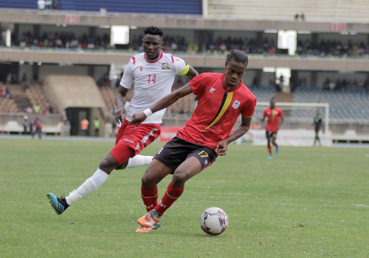 Cranes defender John Revita () in action against Kenya on Sunday. (PHOTOS/FUFA)