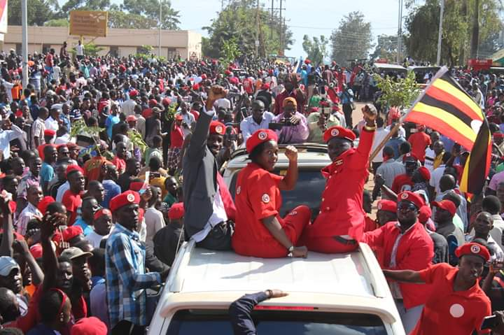 Bobi Wine campaigns for opposition's joint candidate Asinansi Kamada for Hoima Municipality by-election. (PHOTO/Courtesy)