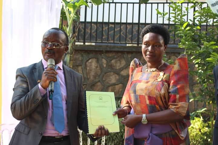 Dr. Eng. Silver Mugisha and Minister RoseMary Saeninde at the innagraatuon ceremony of UBTEB. (PHOTO/Courtesy)