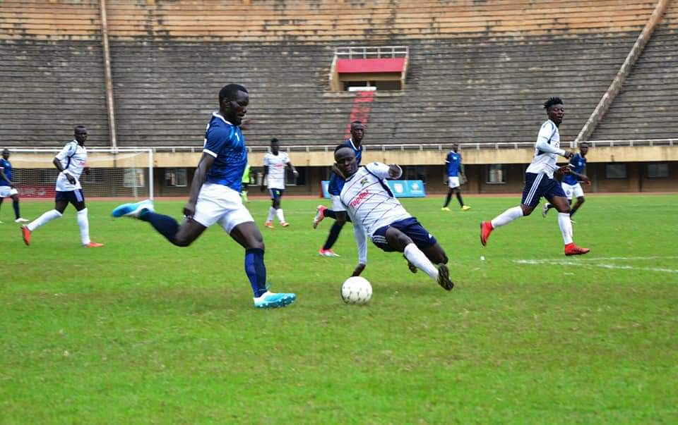 Action between Police FC and Mbarara City FC on Saturday. (PHOTOS/Police FC)