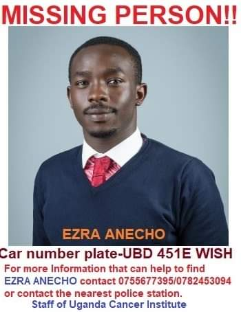 Mr. Ezra Anecho, a staff with Uganda Cancer Institute is missing. (PHOTO/Courtesy)