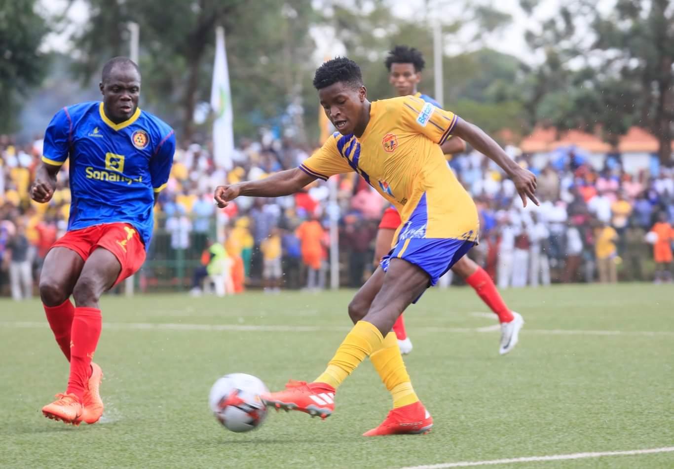Allan Okello shoots the ball during the game against Petro de Luanda on Friday.