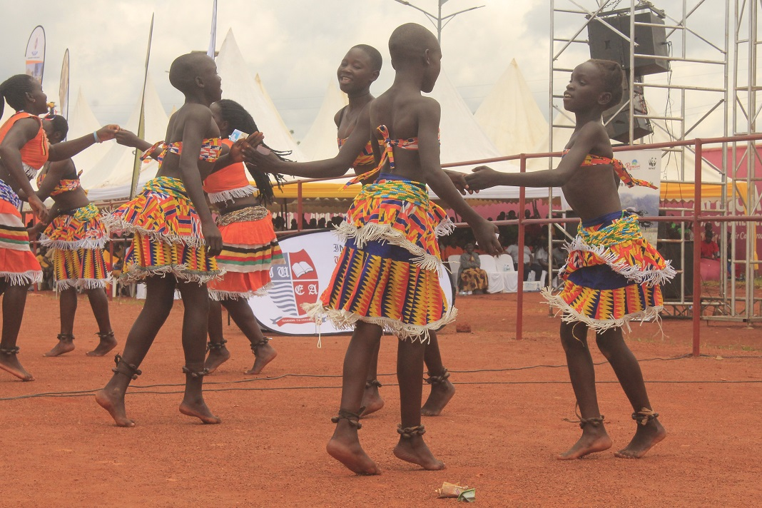 Girls performing one of the Acholi Cultural creative dance called Dingi Dingi. It is one of the dance virgin Acholi girls dances to display their beauty and talent.
