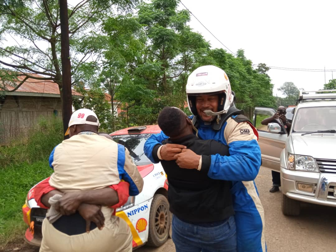 Arthur Blick celebrating his win after the UMC rally in Fort Portal. (PHOTO/Courtesy)