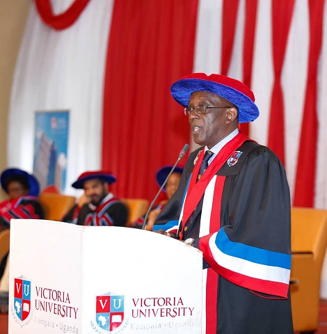 Dr. Ham Mulira Mukasa, the Commencement Speaker at the fourth Graduation Ceremony of Victoria ulUniversity at Speke Resort Munyonyo.( Photo/Abraham Mutalyebwa)
