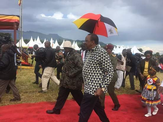 President Yoweri Kaguta Museveni  and Uhuru Kenyatta arriving for the launch of the Cross Border Sustainable Peace and Development Program for Karamoja, Turkana and West Pokot areas. (PHOTO/PML Daily)