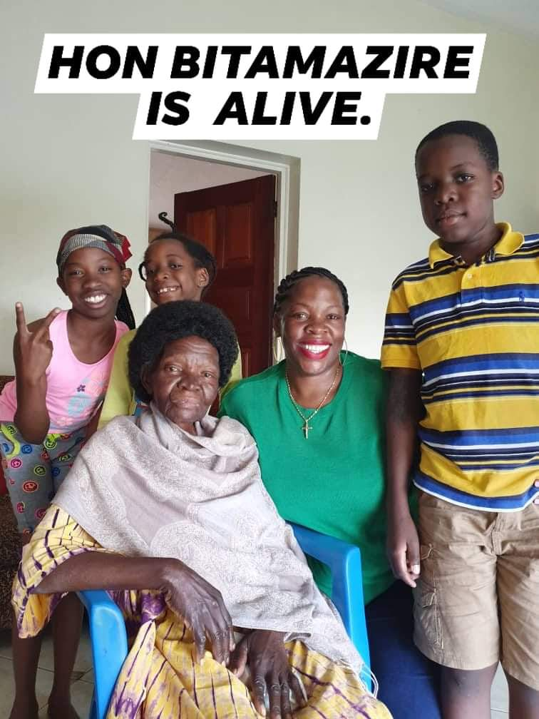 Former education ninister Bitamazire, pictured here on Saturday with her grandchildren. The family released this picture following inaccurate reports that she had died (PHOTO/Courtesy).
