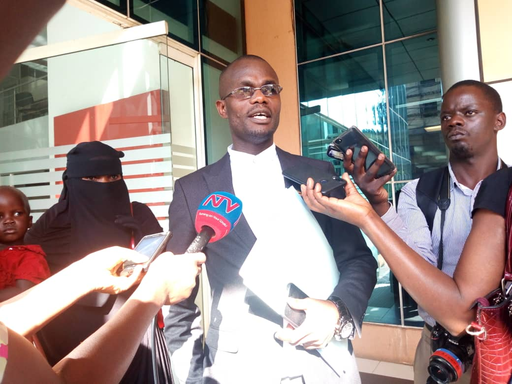 Mr Anthony Wameli addressing journalists after filing in court the application seeking to have the 3 re-arrested Kaweesi Murder suspects presented in court. (PHOTO/ Rachel Agaba).