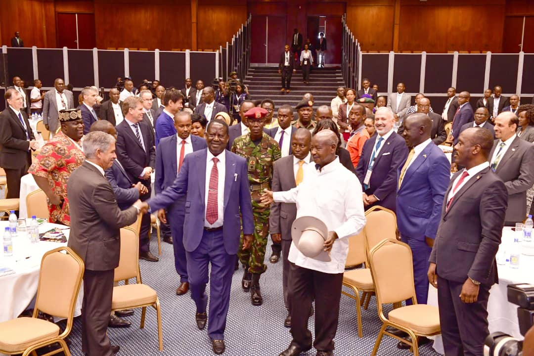President Museveni in a company of Kenyan former Prime Minister Raila Odinga opened. (PHOTO/PPU)