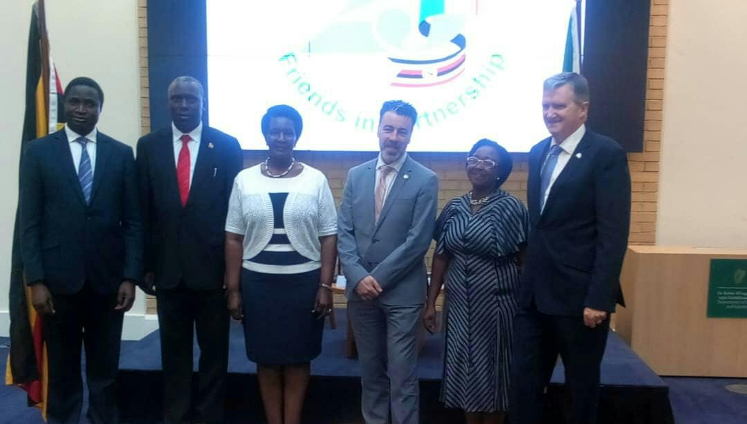 L- R Deputy Head of London Mission Ambassador John Leonard Mugerwa; High Commissioner accredited to Ireland Julius Peter Moto; Uganda Minister for Trade, Industry & Cooperatives Hon Amelia Kyambadde MP; *Director General department of Foreign Affairs Ireland Ambassador Ruairi de Burca;* Uganda Honorary Consul in Dublin Sylvia Gavigan and Irish Ambassador to Kampala HE William Carlos. (PHOTO/Courtesy)