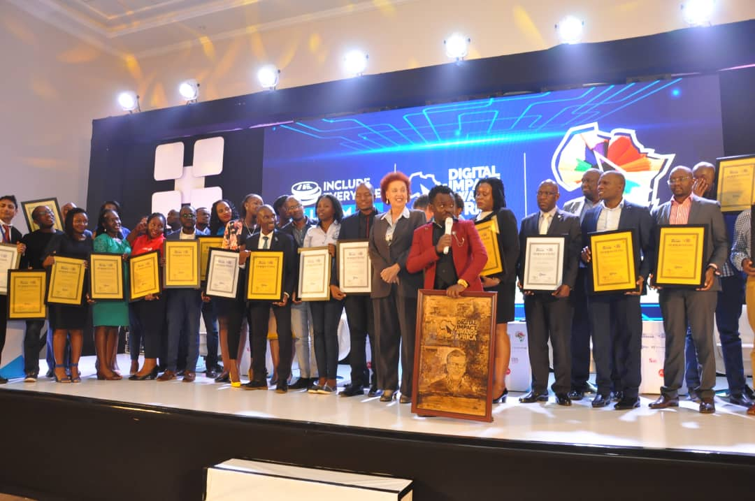 Some of the winners at the  impact digital wards gala night at Mestil Hotel I'm Kampala. PHOTO/Courtesy)