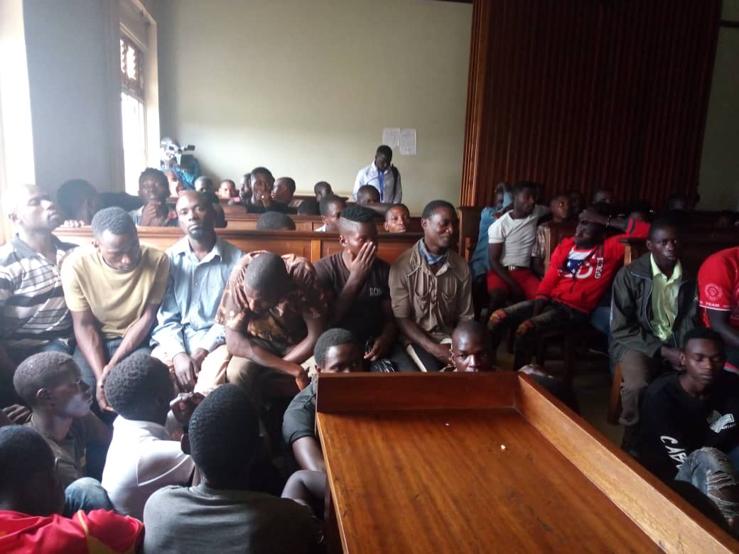 The suspects at the Nateete/Lubaga magistrates court facing charges of being in possession of suspected marijuana and hanging out in places where narcotics are sold. (PHOTO/Rachel Agaba)