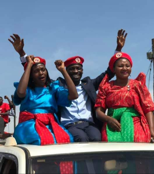 Kyadondo East MP Bobi Wine, Ex- leader of opposition in Parliament Winnie Kiiza pitched camp in Hoima to drum support for Asinansi Nyakato. (PHOTO/Courtesy)