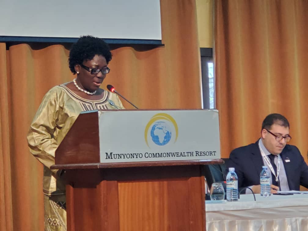 Speaker @RebeccaKadagaUG giving welcome remarks at the Commonwealth Women Parliamentarians conference happening now in Munyonyo. (PHOTO/PML Daily)