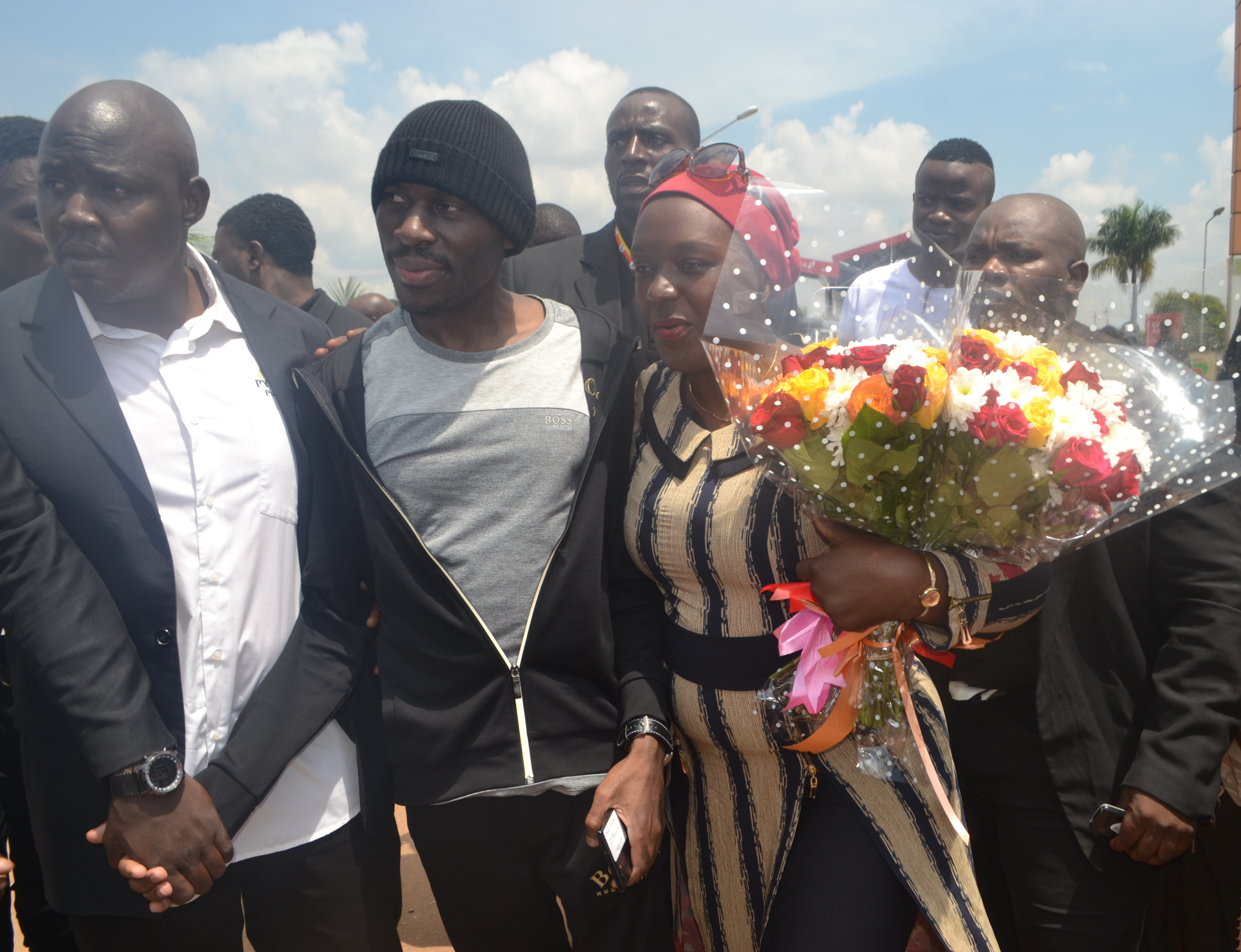 SK Mbuga welcomed at Entebbe International Airport on Saturday (PHOTO/Courtesy)