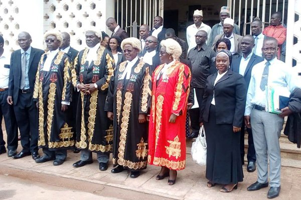 Justice Alfonse Owiny-Dollo together with justice Remmy Kasule, Justice Ezikiel Muhanguzi and justice Dr Winfred Nabisindi during opening of Court of Appeal criminal session at Masaka High Court on September 16, 2019