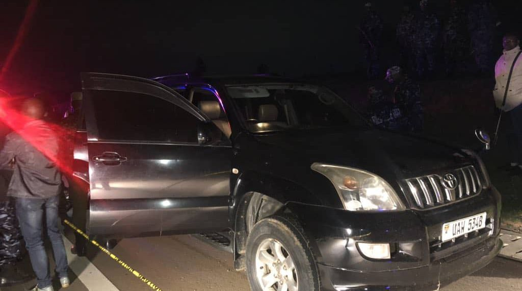 Land-cruiser Prado into which Marinah Tumukunde, a Rwandan national was shot on Thursday evening along the Kampala-Entebbe Expressway (PHOTO/File)