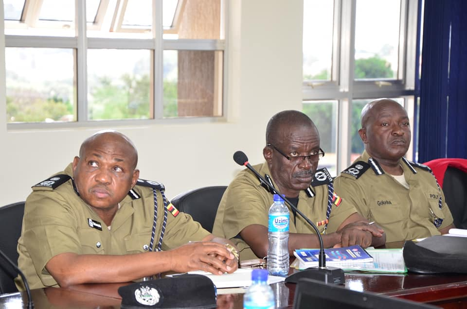 The newly appointed Police Chiefs listen to a deliberations from D/IGP Maj Gen Sabiti Muzeeyi. (PHOTO/Police)