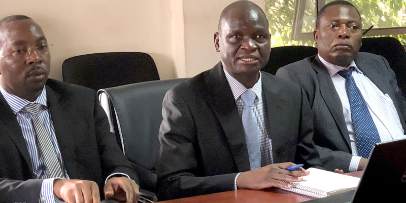 Executive Director Uganda Cancer Institute Dr. Jackson Oryma addressing journalists at media breasfast meeting recently