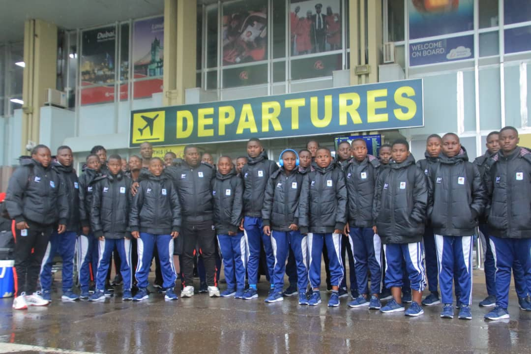 The U17 team pose for a picture before departure on Wednesday. (PHOTO/FUFA).