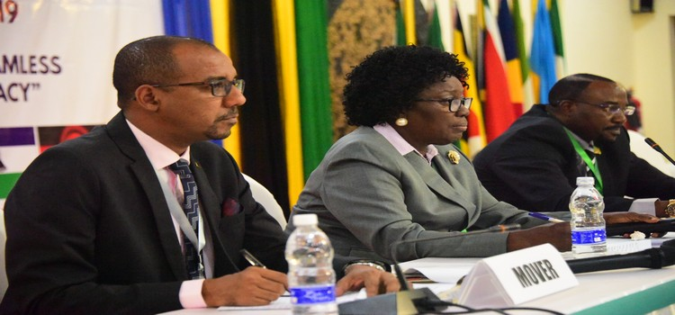 Speaker Rebecca Kadaga (centre) chairs a session at the CPA Meeting in Zanzibar on 2 September 2019. Left is Zanzibar Deputy Minister for Education, Hon. Simai Mohammed Said and Zambia MP, Hon. Evans Chibanda (right)