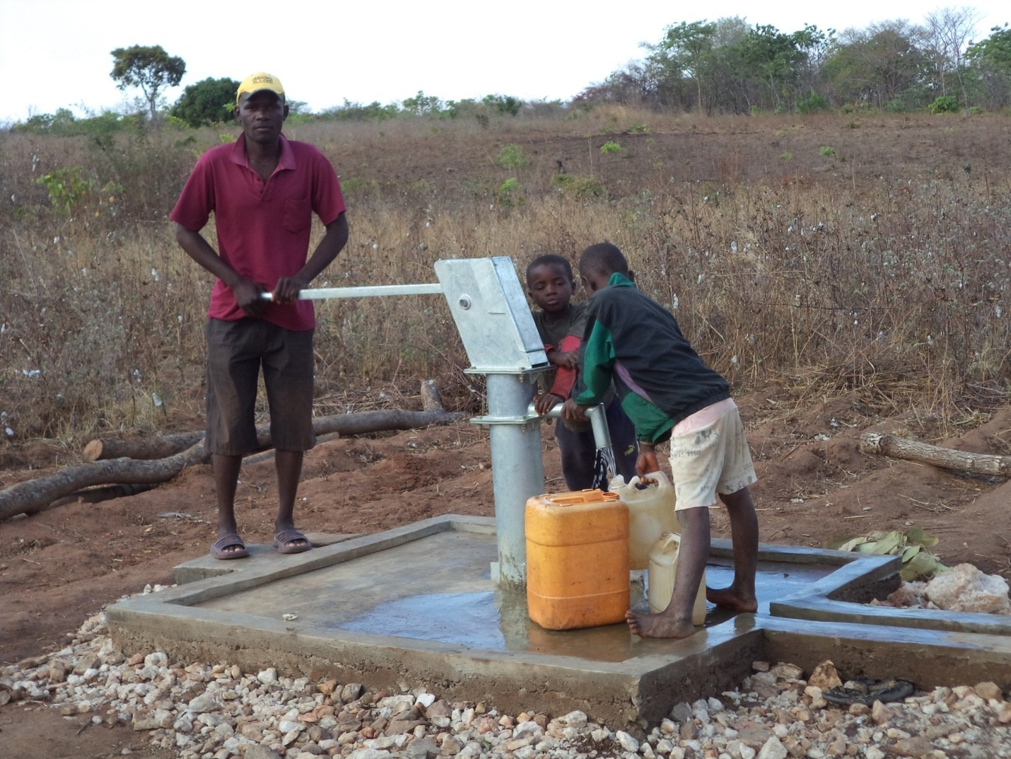 People fetch water at on of the a borewhole.