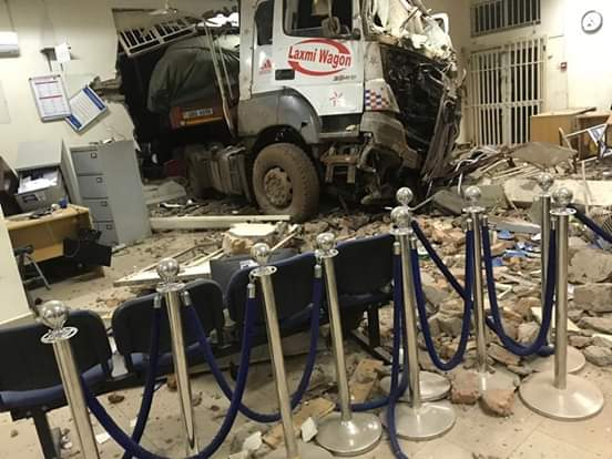 Truck carrying goods bashes into Centenary Bank Bugiri brank on Monday morning (PHOTO/PML Daily)