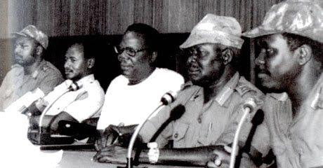 Members of the Military Commission who overthrew President Binaisa in May 1980. L-R: Col. Zed Maruru, Mr Yoweri Museveni, Mr Paulo Muwanga, Maj. Gen. Tito Okello and Brig. Oyite Ojok. (PHOTO/Courtesy)