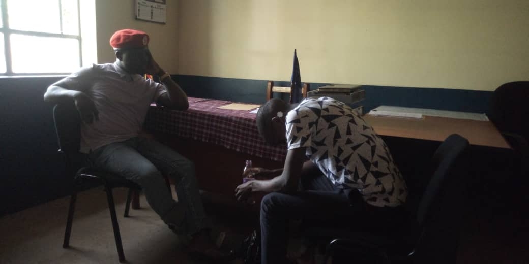 Mr.Francis Zaake  being questioned from.District police commander's office Moroto last week. (PHOTO/File)