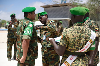 AMISOM awarded service medals to military officers in recognition of their contribution to restoring peace and stability in Somalia.(PHOTO/ AMISOM)