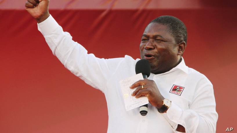 Ruling Frelimo Party leader and President Filipe Nyusi, at an election rally in Maputo, Mozambique