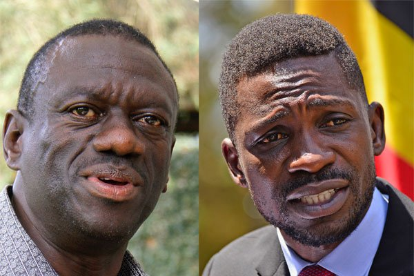 The People's Government boss Kizza Besigye in jazz with Bobi Wine, the People Power leader