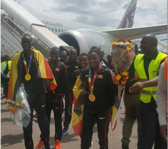 21 athletes that had gone to represent Uganda in IAAF 2019 in Doha have received a heroic welcome. (PHOTO/Courtesy)