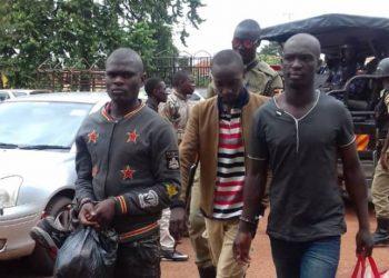 The three Nagirinya murder suspects appearing before Mwanga 11 Magistrate's court. Photo by Rachel Agaba