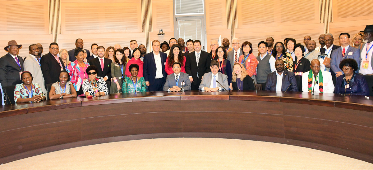 Participants at the All Nations Christian Government Leaders summit at the Israeli Parliament in Jerusalem.