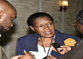 Clerk to Parliament, Jane Kibirige (centre) talks to journalists at the ongoing 3rd Annual Legislative Sector Review Workshop at Hotel Africana, Kampala, on Wednesday