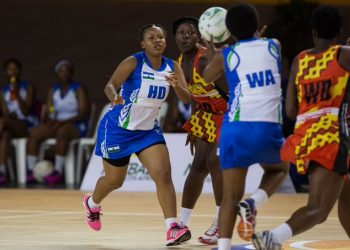 Action between Uganda and Lesotho at the Africa Netball Championships in South Africa. (PHOTO/Courtesy)