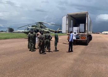 To address challenges of stock outs of vaccines due to high turn up, the UPDF today airlifted additional 2,350,000 vaccines from NMS to ensure that districts which experienced stock outs are able to carry on with immunization exercise during the one-day extension period. (PHOTO/Courtesy)