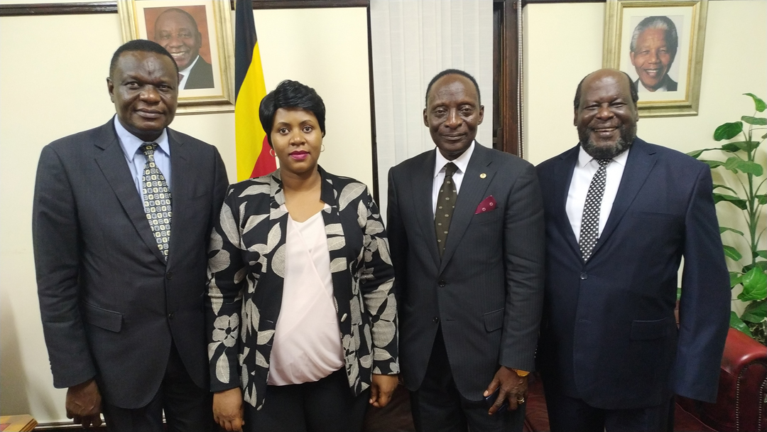 LEFT TO RIGHT: Hon. Felix Okot Ogong, H.E. Barbra Nekesa Oundo; the Honorary Consul of Uganda in Namibia, Prince Joseph Ndawula and Hon. Prof Morris Ogenga Latigo at the independence celebrations in South Africa.