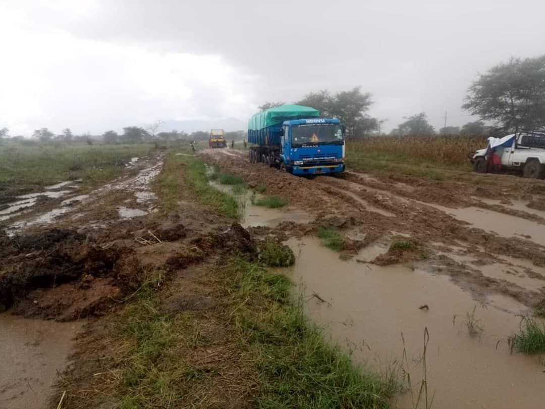 Heavy trucka weed on the slippery road of Soroti, Kotido road via Amuria to Abim on Tuesday morning Photo by Jonathan Opolot