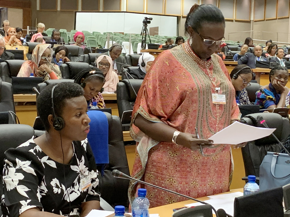 Hon. Robina Rwakoojo makes a contribution during the PAP Conference on women's rights in Midrand, South Africa. To her right is Hon. Justine Khainza.